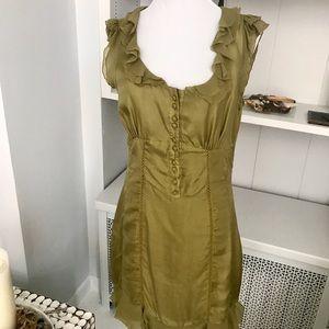 Green Silk Corset Style Dress, Chiffon Detail